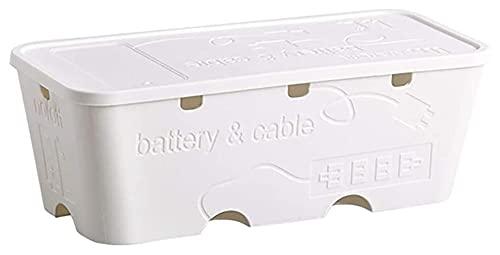 Caja de almacenamiento de cable, caja de plástico Organizador de cables, Tiro de corriente de escritorio Línea de redes de alambre Cargador Toma de enchufe Organizador de control de seguridad, gris 5