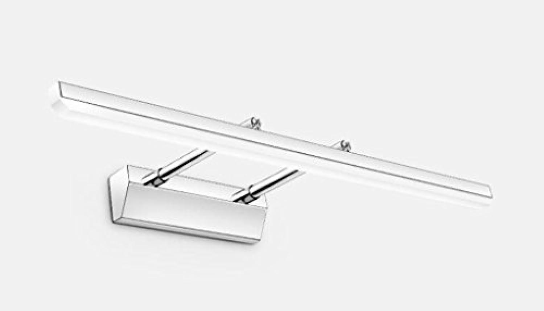 WTL Lighting Versenkbare Edelstahl Spiegel Lampe Badezimmer LED Badezimmer Einfache moderne Spiegel Schrank Lampe WC Wandleuchte (Farbe   Weies Licht-50cm)