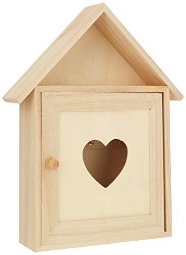 RAYHER 62405000 Holz Schlüsselkasten FSC Mix Credit, 17 x 5 x 21 cm, Herzenslust
