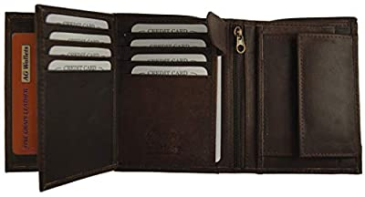 AG Wallets Mens Cowhide Leather European Trifold Wallet Slim Hipster (Brown)