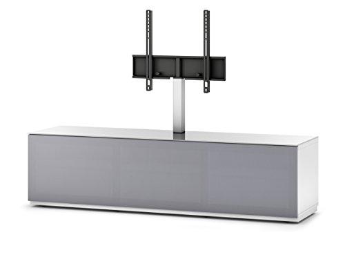 Sonorous STA 261T-WHT-GRY-BW hängende TV-Lowboard mit TV-Aufhängung, Sockel, weißer Korpus, obere Fläche, gehärtetem Weißglas und Klapptür mit grauem Akustikstoff