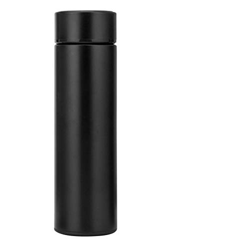 LKJJTG Botella de Agua con Aislamiento, Pantalla LED Inteligente de Temperatura, Tazas de café para Negocios en el hogar, 500 ml, Taza Aislante de vacío con Botella de Agua-Black