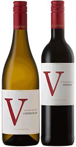 CAPREO Südafrikanische Klassiker Weinpaket | Chenin Blanc und Pinotage aus Südafrika (2 x 0.75l) | Trocken | Weine für jeden Geschmack von CAPREO