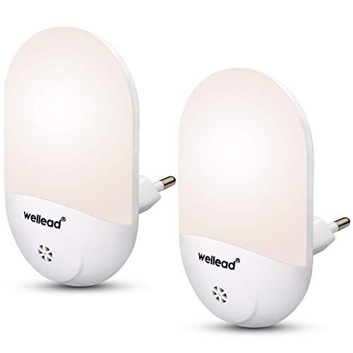 Wellead nachtlampje baby stopcontact automatisch aan/uit-licht lichtsensor LED nachtlampje kinderen nachtlamp kinderkamer oriëntatielicht voor slaapkamer badkamer warmwit 2 Stück