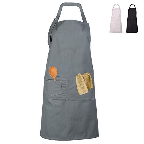 LessMo Schürze, Grillschürze und Kochschürze in Profiqualität mit verstellbarem Nackenriemen Und Mit Zwei Taschen, aus 100% Baumwolle 70 x 85 cm