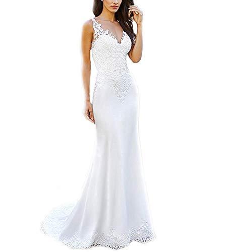 YASIOU Hochzeitskleid Meerjungfrau Damen Standesamt Lang Spitze Sexy Hochzeitskleider Brautkleider Brautmode Rückenfrei