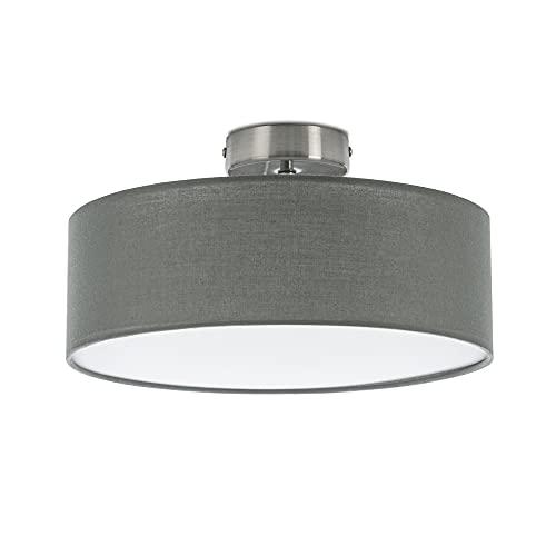 Briloner Leuchten Deckenleuchte, Stoffleuchte, Deckenlampe 1 x E27 max. 40 Watt, Stoffschirm Farbe: Grau-Satin, Ø 30cm, Stoff