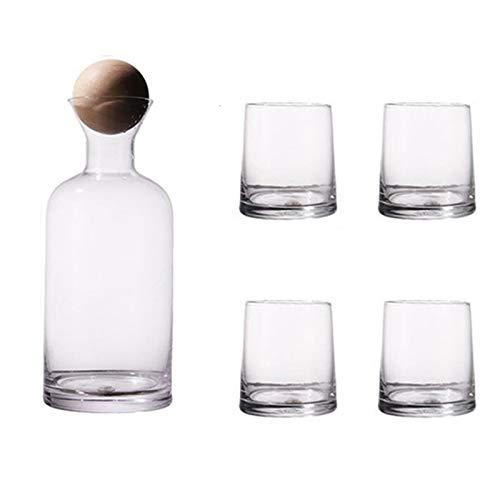 Heritan Juego de vasos de whisky de lujo con tapa de bola de madera jarra transparente para jugo cóctel copas de vino - transparente