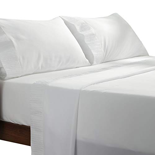 Bedsure White Sheets Queen Size - Soft 1800 Bedding Sheets & Pillowcases Sets, 4 Pieces White Sheets