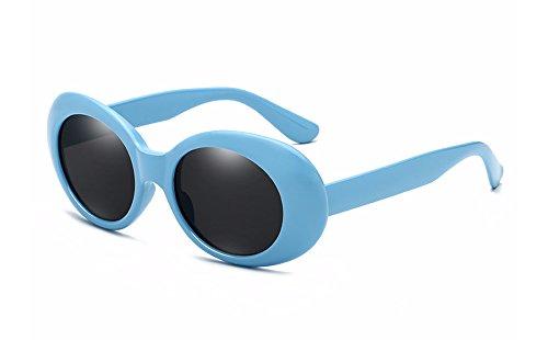 BOZEVON Retro Ovale Sonnenbrille - UV400 Schutzbrillen für Damen & Herren Blau-Schwarz C3