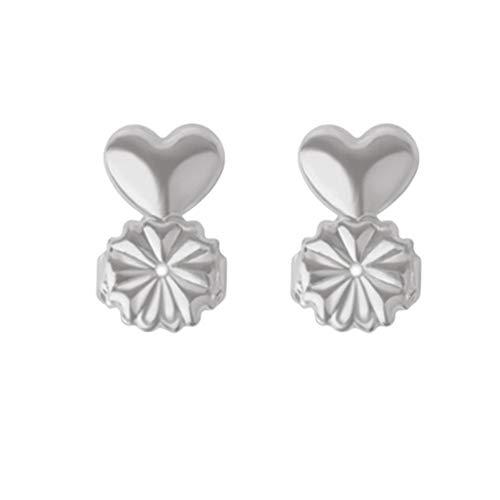 gerFogoo Silber Ohrring Rücken Lifter - 1 Paar Ohrring Rücken Set Verstellbare hypoallergene Sicherheitsverriegelung Ohrstecker Hebebühnen Zubehör für Mädchen(Silver)