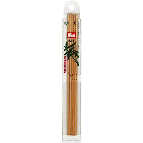 Prym 221212 Strumpfstricknadeln, 20 cm, 3,00 mm Strumpfstricknadel, Bambus, Natur, 3 mm