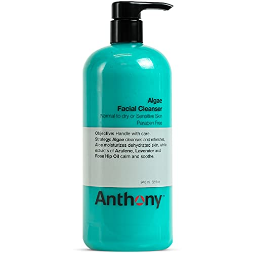 Anthony Algae Facial Cleanser, 32 Fl Oz. Contains Algae, Aloe Vera, Azulene, Lavender and Rose Hip Oil, Cleanses and Refreshes, Moisturizes and Hydrates, Calms and Soothes Your Skin.