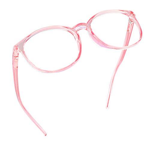 LifeArt Blaue Licht Blockieren Brille, Anti-Augen-Müdigkeit, Computer Lesebrillen, TV Brille für Frauen Männer (Transparentes Rosa, 1.50 Vergrößerung)