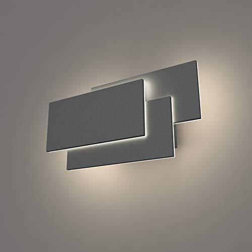 Klighten LED wandleuchten innen,24W,Up Down Wandleuchte,IP20 LED Modern Wandlampe Für Schlafzimmer, Wohnzimmer,Natürliches Weiß,Dunkelgrau