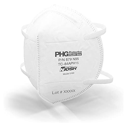 PHG PROTECTIVE HEALTH GEAR N95 Masks, NIOSH Certified, Made in USA, Particulate Filtering Respirators, Medical & Personal Use, 20 Wrapped Masks