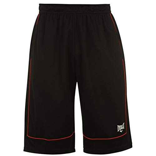 Everlast Herren Basketball Shorts Locker Kurze Hose Sporthose Sport Bekleidung Black/Red Extra LGE