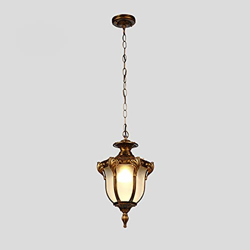 LANTING Lámpara de techo para exterior, resistente al agua IP44, diseño retro, lámpara de techo de aluminio y cristal, rústica, altura regulable, casquillo E27, lámpara máx. 40 W, Ø18,5x H33cm