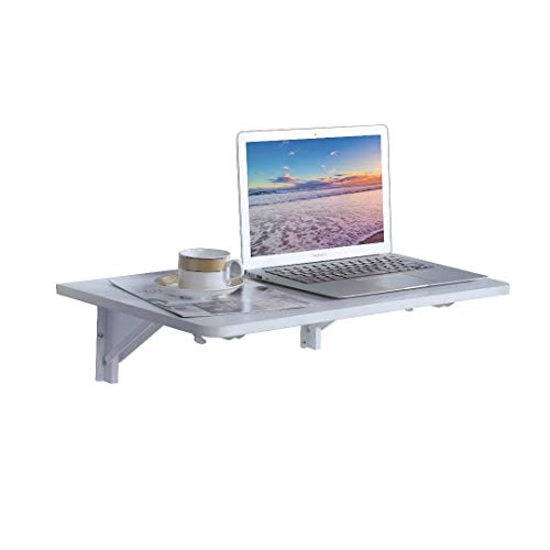 "9 Plus Wall Mounted Floating Folding Table, Drop Leaf Dining Table Small Wooden Desk for Office Home Kitchen(23.6"" 15.6"" (LW)), White"