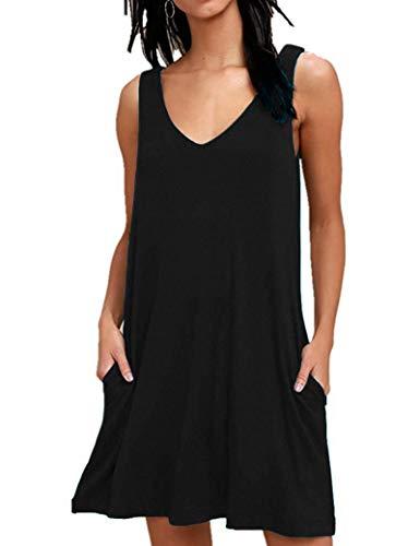 copricostume donna nero estivo AUSELILY T-Shirt Casual Estiva da Donna Abiti da Spiaggia Copricostume Abito a Tinta Unita a Pieghe(Nero