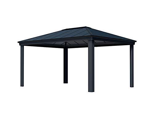 Palram Dallas 4900 Gartenpavillon 3x4.9 : Höchst Widerstandsfähig, Hardtop Pavillon. Robuste Konstruktion aus Aluminium mit isoliertem Dach aus Polycarbonat. Ideal als freistehende Überdachung.