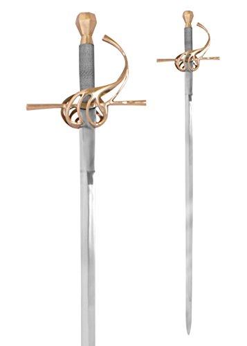Battle-Merchant Rapier Replik aus dem 17. Jahrhundert aus Stahl handgeschmiedet - Mittelalter - aus Metall - für Erwachsene