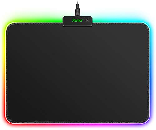 RGB Gaming Mouse Pad Mat - Led Mouse Pad with Durable Stitched Edges and Non-Slip Rubber Base, High-Performance Mouse Pad Optimized for Gamer, Suitable for MacBook, PC, Laptop, Desk (13.3x9.7in)
