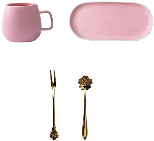 GJJSZ Keramik Kaffeetasse Haushalt Keramik Frühstückstasse Mit Geschirr Milch Tasse Becher Mit Löffel Kaffeetasse Kreative Geburtstagsgeschenk(Farbe: Rosa,Größe: 300 ml)