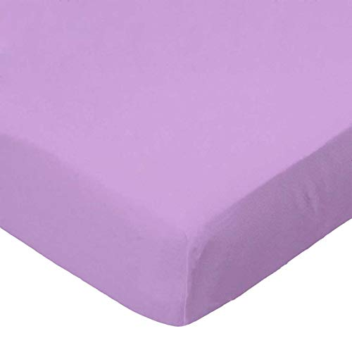 New SheetWorld Fitted 100% Cotton Percale Pack N Play Sheet 29 x 42, Solid Lilac Woven, Made in USA