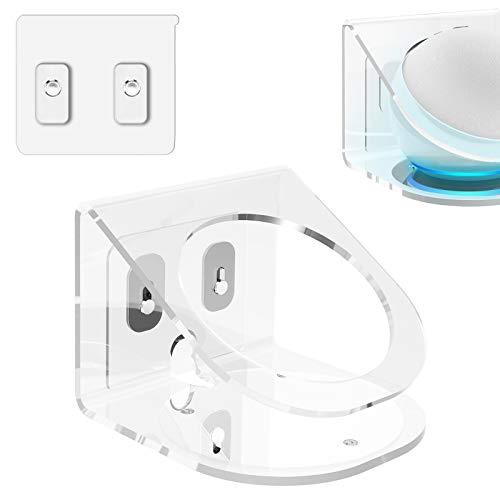 Geekria Soporte de pared acrílico para Echo Dot (4ª generación) con un reloj LED y Alexa, soporte de altavoz estable para altavoz Echo Dot 2021 (transparente)