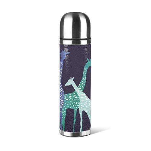 Farbiges Giraffenmuster Kaffeetassen mit Deckel 316 Edelstahl Wasserflaschenbecher 3D-bedrucktes Leder Rutschfest, Auto Tragbar Reise Tee Kaffee Vakuum-Thermosbecher