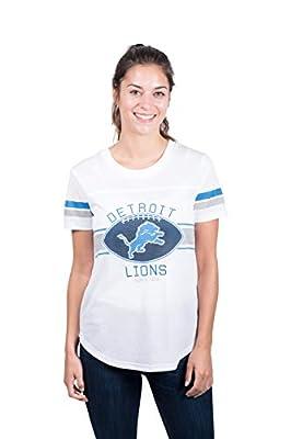 Ultra Game Women's NFL Soft Mesh Jersey Varsity Tee Shirt, Detroit Lions, White, X-Large