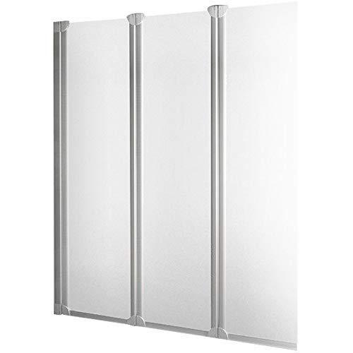 Pare baignoire rabattable, paroi de baignoire réversible, pare-douche pliant 127 x 130 cm, écran baignoire avec 3 volets pivotants, verre transparent, profilés en alu nature
