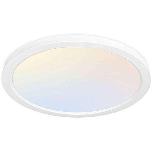 Hykolity 13 Inch LED Round Flat Panel Light, 24W 2400lm 3000K/4000K/5000K CCT Selectable, Dimmable Edge-Lit Flush Mount Ceiling Light Fixture for Kitchen, Bedroom, Laundry and Closet Room