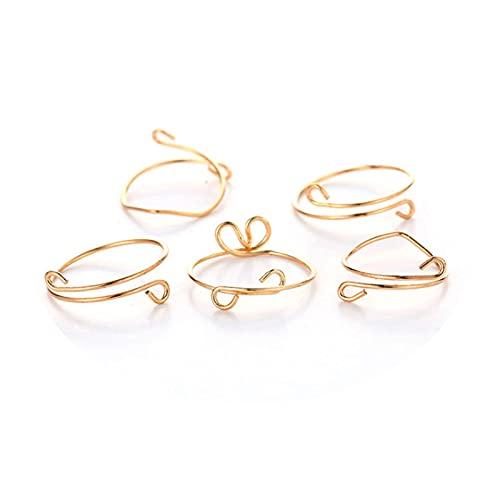 Yienate Boho Vintage Twist Knuckle Anillos Set Oro Cepillado Curva Anillo de dedo apilable Índice Anillos de dedo para mujeres y niñas (5 piezas)