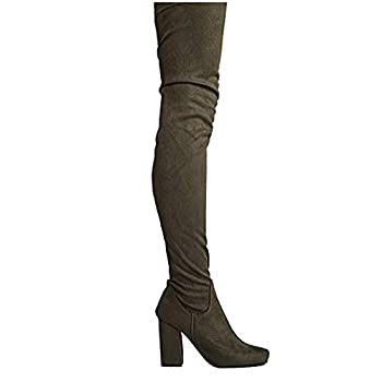 Chunky Heel Thigh High Boot Olive Suede 9 B M  - US