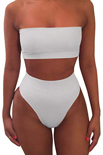 Pink Queen Women's Remove Strap Pad High Waist Bikini Set Swimsuit White, X-Large
