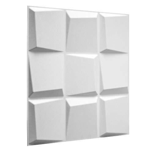 WallArt 3D Wandpaneele Oberon - 3D-Wandverkleidung - Raumstyling mit 3D Wandplatten - Alternative Wandverkleidung - Streichbare 3D Reliefplatten - 50 cm x 50 cm - 12 Stück für 3 m² Wandfläche
