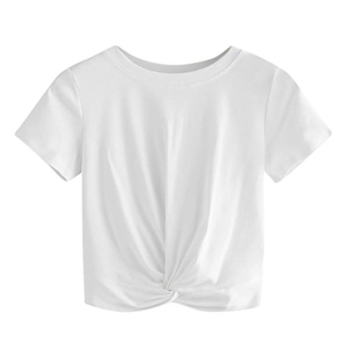 KIMODO T Shirt Top Damen Sommer Schwarz Weiss Locker Sexy Sport rot XXL Spitze Baumwolle bauchfrei Lang Rundhals Chiffon V Ausschnitt mit Rüschen Übergröße Ärmellos XS