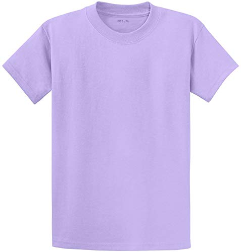 Joe's USA Heavyweight 6.1-Ounce, 100% Cotton T-Shirts,Lavender S