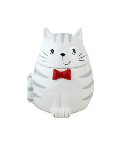 happyDko Déco Table Chat : Petite sucrier en céramique, H 12 cm