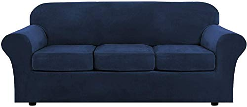 LINGKY Velvet Sofa Cover with 2 Separate Cushion Covers, Stretch Ultra Soft Plush Sofa Slipcover Replacement Anti-Slip Furniture Protector with Elastic Bottom (Navy,3 Seater(173-229cm))