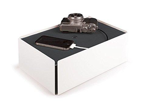 Konstantin Slawinski Charge-Box weiß-grau / Kabelbox für Ladegeräte oder Mehrfachsteckdosen / 31,5x21x11,5cm