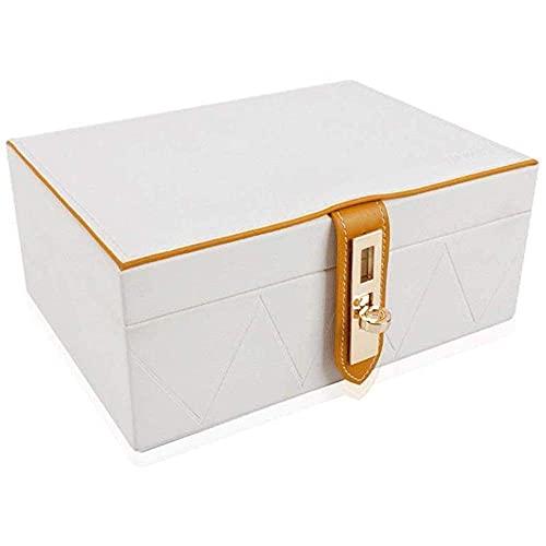 Caja de joyería de la sección - 2 capas - hebilla - Snap & Cierre - Mirror grande - Diseño de cuero - Organizador de joyas para mujeres y niñas - Titular para Anillo Pendiente Collar y Pulsera