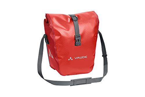 VAUDE Aqua Front –Alforjas delanteras para bicicleta, Juego de 2 bolsas adaptables a la carga e impermeables , Rojo (Lava), 28 L (2 X 14 L)