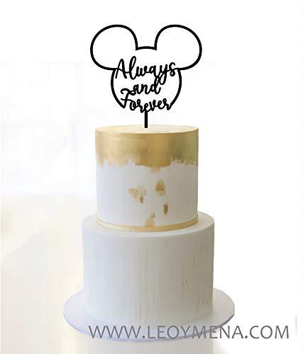 Topper tarta de boda mickey, figura tarta nupcial, Cake topper mickey con texto en ingles Always and Forever, Wedding mickey cake topper Always and Forever, Adorno para tarta de boda mickey mouse