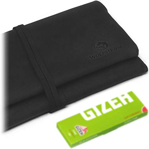 Tabakbeutel 'Bjørk' – Tabak-Tasche Leder, Set inkl. Gizeh Papers – Dreher-Tasche mit Blättchen-/ Filterfach & Lederband Blau/Rot – Norwegian Black