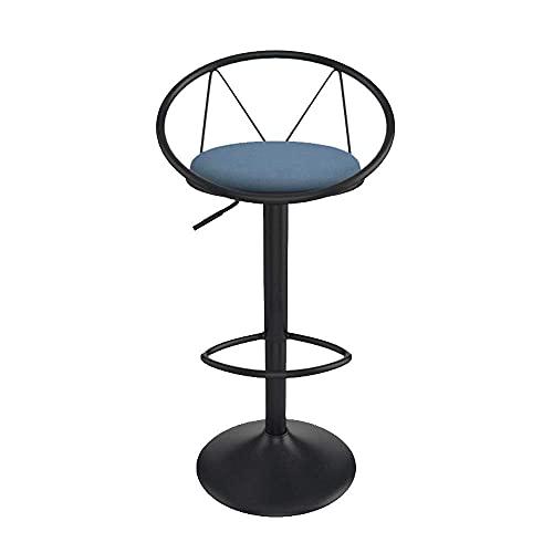 QLIGAH - Taburete de bar, sillas de bar ajustables en altura, piel, taburete de cocina giratorio a 360 ° con respaldo y reposapiés, taburete de bar, color negro