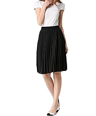 Hotgirldress Junior Girls Dancing Skirt Knee Length Chiffon Pleated A-Line Womens Midi Skirts