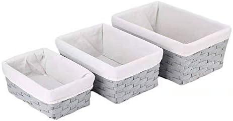 HOSROOME Handmade Bathroom Storage Baskets Set Shelf Baskets with Liner Woven Decorative Home product image